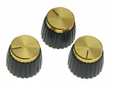 *NEW Set of 3 AMP STYLE KNOBS for Amplifiers+ Guitars Marshall Style Gold/Black