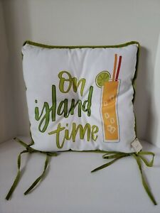 On Island Time & Tropical Drinks Indoor/Outdoor Seat Pillow/Cushion w/ Ties NWT