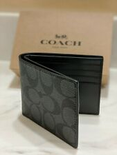 New Authentic Coach F66551 Men's ID Billfold Wallet Signature Leather MFSRP $150
