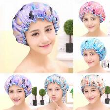 EE_ Women Butterfly Pattern Double Layer Waterproof Elastic Bathing Hat Shower C