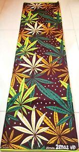 African ANKARA Green Yellow LeaF Block Wax Kente Print Fabric Sewing Craft 1Yard