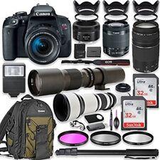 Canon EOS Rebel T7i DSLR Camera with (4) Lenses + Professional Bundle
