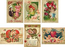 Vintage 6 antique Valentine cards  with red envelopes