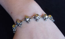 New Adjustable Skull Chain Bracelet Wristband Anklet Biker Bone Jewelry