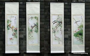"""Chinese print painting a set of 4 birds flowers wall scroll gongbi 9x36"""" art"""