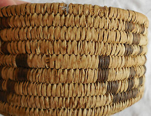 Papago made early 1900's yucca and devil's claw hand woven pictorial basket
