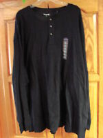 NEW MENS ST JOHNS BAY BLACK LONG SLEEVE THERMAL HENLEY SHIRT SIZE 4XL