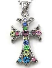 Cute Multicolor Cross  Pendant Necklace Charm Silver Tone Celtic Vintage Style
