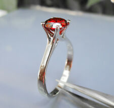 Brillian Ring Size X Garnet Stone 6.50mm Solitaire Ladys 925 Sterlyng Silver