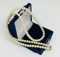 Vintage Necklace Faux Pearl Gold Tone Clasp Signed With Pat No Collar Length