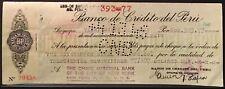 1946 Check~Banco de Credito Del Peru~Esterbrook Steel Pen Co~Peru Revenue Stamps