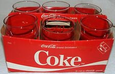 1984 Coca-Cola Coke Indiana Glass Co 6 Pack Of 12oz Glasses With Red Labels