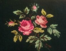 Antique/Vtg Finished Needlepoint Bouquet Bench/Pillow cover 21� X 11� Pink Roses