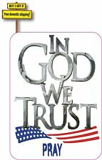 In God We Trust Pray With Flag Decal Sticker Made in America Proud USA Christian