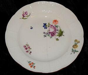 antiker TELLER MEISSEN Blumen Handmalerei - restauriert