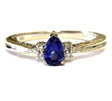 14k white gold .03ct diamond womens blue created sapphire band ring 2.3g estate