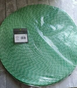 "8 -Threshold 15"" Green Round Woven Placemat"