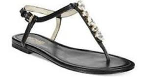 Michael Kors Womens Jayden Flats Jeweled Ankle Strap Sandals Shoes NIB SZ 9