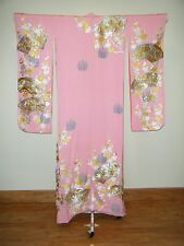 Bold Pink Japanese Kakeshita Wedding Furisode w/ Heavy Embroidery