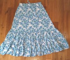 Blue floral skirt S Sm tiered peasant cotton knit below knee modest Garnet Hill