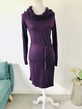 M&S Autograph Cashmere Mix Aubergine Plum Knitted Jumper Sweater Dress Size 8