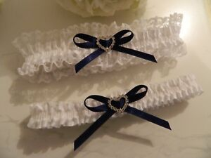 WEDDING GARTER SET - WHITE SATIN - NAVY BOWS DIAMANTE HEART - FREE ORGANZA POUCH