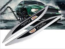 2XCADILLAC Luxury Auto Car Body Chrome Fender Blade Badges Emblems Decal Sticker