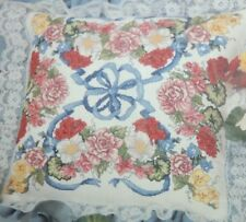 """Something Special Counted Cross Stitch Floral Garland Pillow 14"""" x 14"""" 50720"""