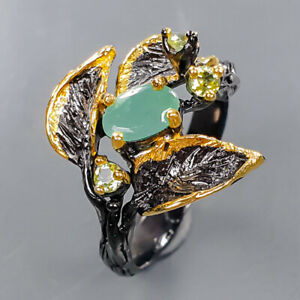 Handmade ring Emerald Ring Silver 925 Sterling  Size 8 /R171811