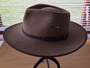 Akubra Brown Pure Fur Felt Cattleman Hat Size 57