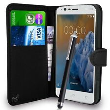 Black Wallet Case PU Leather Book Cover For Nokia 3 Mobile Phone