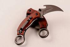6.5'' New Wood Handle 440 Blade Hook Cut  Folding Pocket Claw Karambit Knife X52