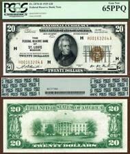 1929 $20 Federal Reserve Bank Note ST. Louis Missouri FR.1870-H PCGS Graded Gem