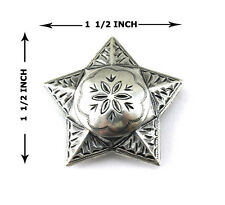 Conchos Lot Of 6 Pcs Windrose Star Ranger Antique Silver Leather Craft 1 1/2 ""
