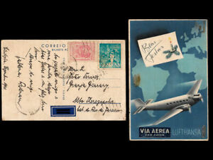 Condor Lufthansa Christmas Card cover 1941 Brazil  Calceled 26 Dez 1941