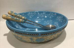 Temptations Floral Lace Basketweave Light Blue Salad Serving Bowl W/Fork Spoon