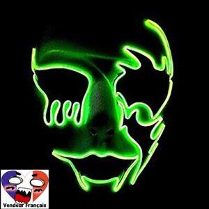 Halloween Masque Éclairage LED Masque Effrayant Crâne Lumineux Masque Festif