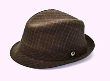 A6 NEW GOORIN Brown Check Poly Rayon Blend Fedora Hat Size Large