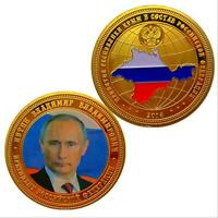 Russian President Putin Commemorative Token Gold Plated Coin Collectible Gift