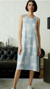 NWT $258 Eileen Fisher DAWN  Brushstroke Silk & Cotton Midi Dress size L