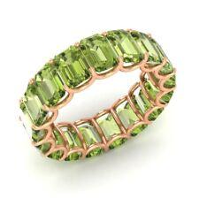 Certified 9.54 Ctw Emerald Cut Peridot 18k Rose Gold Full Eternity Band Ring
