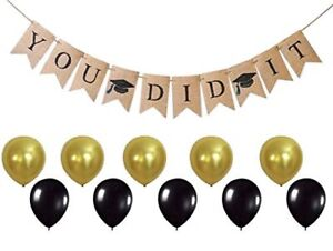 YOU DID IT Graduation Banner - Ready to Hang Burlap Banner by Jolly Jon Products