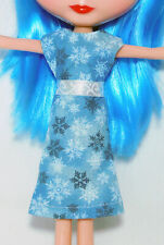 Blue Sparkly Snowflake Dress and White Ribbon Sash - Cute Winter Basaak Outfit
