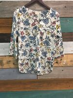 Les Amis White Womens Size Medium Floral Long Sleeve Blouse