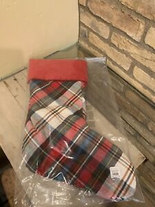 Pottery Barn Denver Plaid Stocking No Mono Christmas Decor New Velvet Red Green