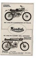 Pubblicità 1972 MOTO MOTOR MONDIAL CROSS advertising werbung publicitè reklame