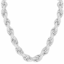 Heavy Sterling Silver Rope Necklace Iced Out Simulated Diamonds 24 Inch