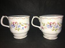 Royal Albert JUBILEE ROSE Footed Tea COFFEE MUGS Lot x 2 Gold Trim England