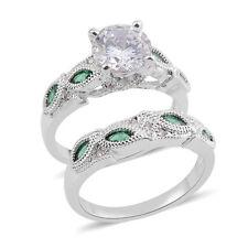 GREEN SIMULATED WHITE DIAMOND ENGAGEMENT WEDDING BAND SET SIZE 6 SILVER TONE SET
