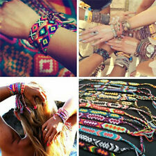 10x Retro Friendship Bracelet Handmade Woven Rope String Boho Embroidery Jewelry